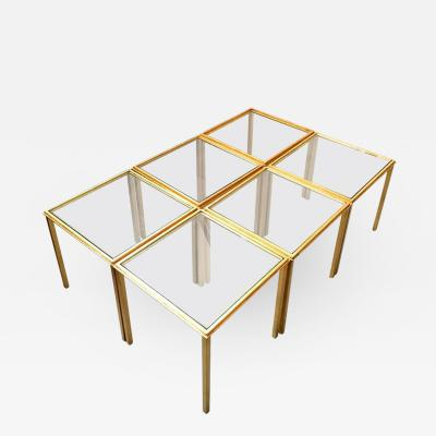 Roger Thibier Roger Thibier Spectacular Gold Leaf Wrought Iron Big Coffee Table Made of 6 Unit