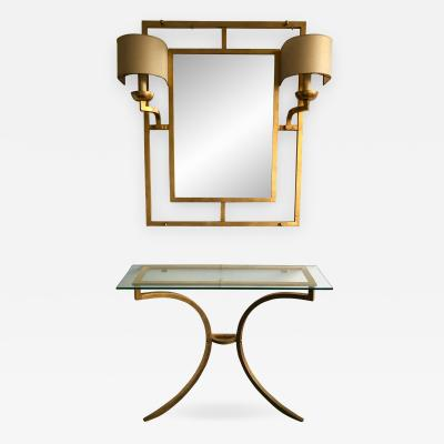 Roger Thibier Set Mirror Console Wrought Iron Gold Leaf by Roger Thibier France 1960s