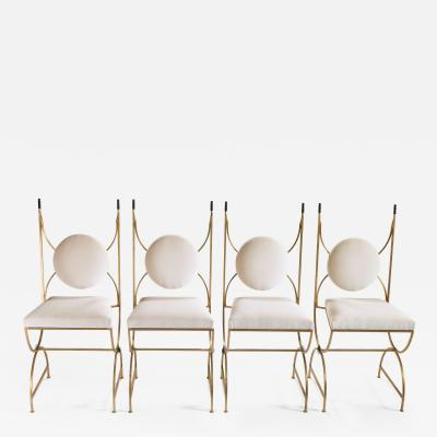 Roger Thibier Set of 4 mid century chairs gold leaf and velvet by Roger Thibier 1960s