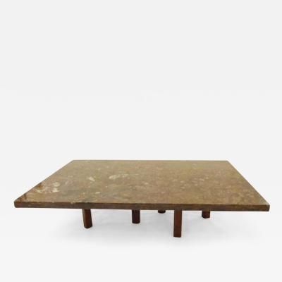 Roger Vanhevel Large Scaled Coffee Table in Fossilize Marble in the style of Roger Vanhevel