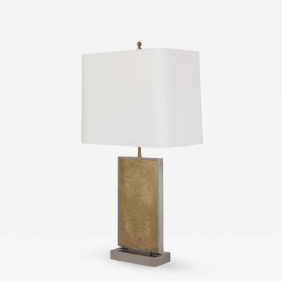 Roger Vanhevel Roger Vanhevel Brass Etched Impressive Table Lamp 1970s