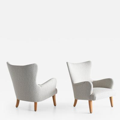 Rolf Engstr mer Pair of Rolf Engstr mer Armchairs in Pearl Boucl and Sycamore Sweden 1946