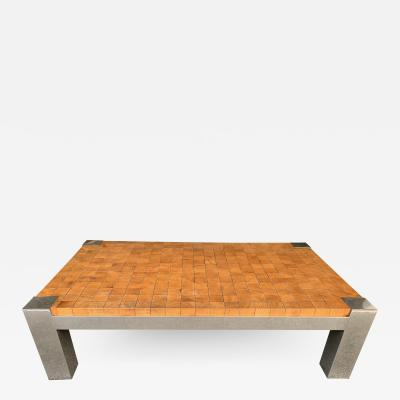 Rolf Middelboe Coffee Table Wood Cube and Metal France 1970s