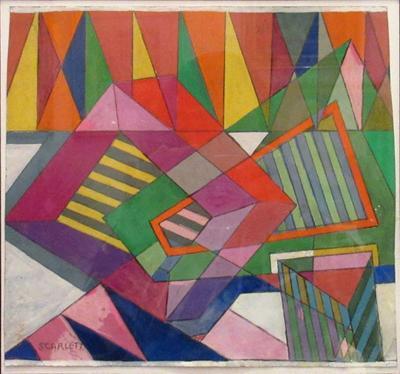 Rolph Scarlett Gouache on Paper Geometric Abstraction by Rolph Scarlett