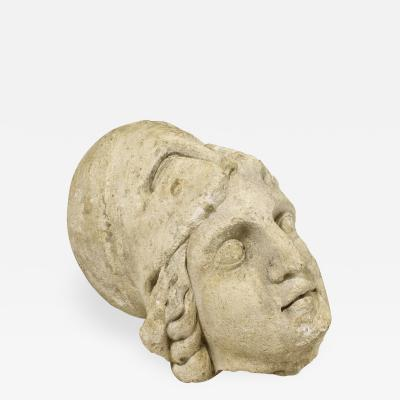 Roman Antiquities Stone Sculpture of Minerva with Helmet 2nd Century AD France