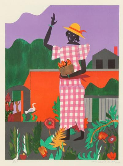 Romare H Bearden Girl in the Garden
