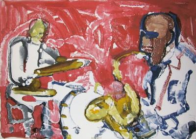 Romare H Bearden Out Chorus Rhythm Section From the Jazz Series