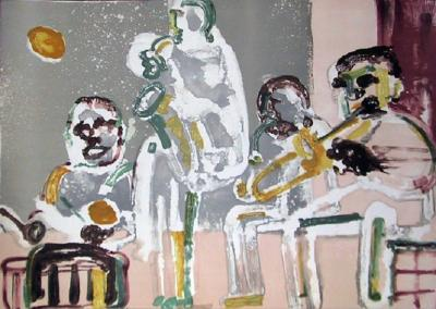 Romare H Bearden Tenor Sermon From the Jazz Series