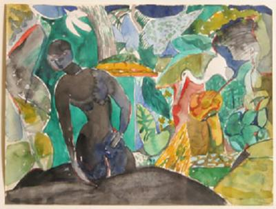 Romare H Bearden Untitled Jungle Scene