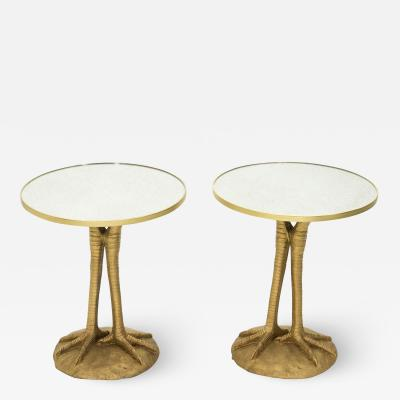 Romeo Paris Pair of Romeo Paris resin ostrich legs gueridon tables 1970s