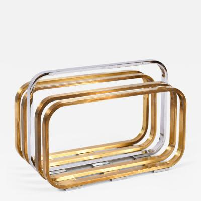 Romeo Rega 1970s Italian chrome and brass magazine rack by Romeo Rega