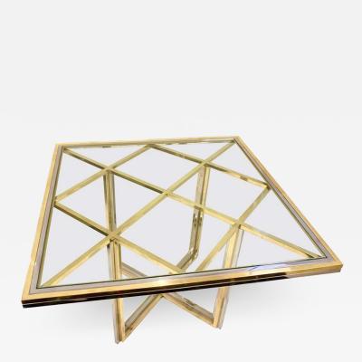 Romeo Rega 1970s Romeo Rega Italian Geometric Modern Brass Chrome Vintage Square Table