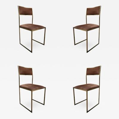 Romeo Rega 4 Suede and Brass Chairs by Romeo Rega Italy 1960
