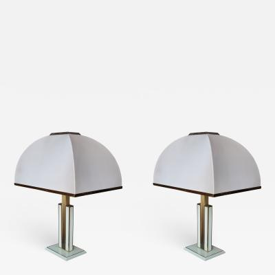 Romeo Rega A Pair of Brass and Lacquered Table Lamps by Romeo Rega Italy 1970