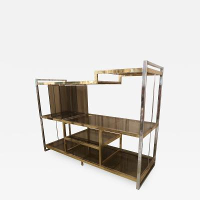 Romeo Rega A brass and chrome shelve by Romeo mega Italy 70