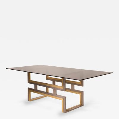 Romeo Rega An Exceptional Italian Chromed Steel and Brass Dining Table with Glass Top