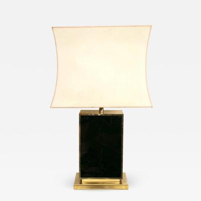 Romeo Rega Black Lacquer and Gold Tone Table Lamp in the Manner of Romeo Rega