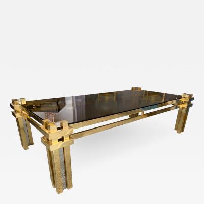 Romeo Rega Brass Coffee Table by Romeo Rega Italy 1970s
