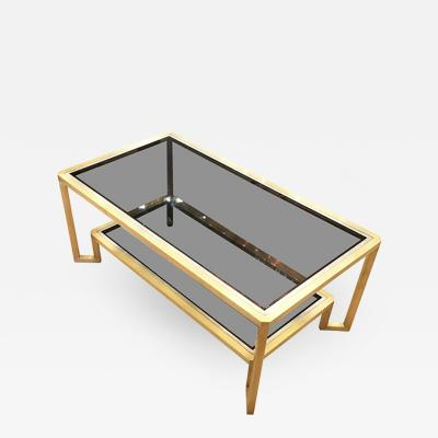 Romeo Rega Brass Coffee Table in the Manner of Romeo Rega