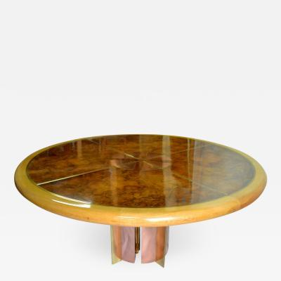 Romeo Rega Copper and Brass Inlayed Compass on Amboyna Table 1972