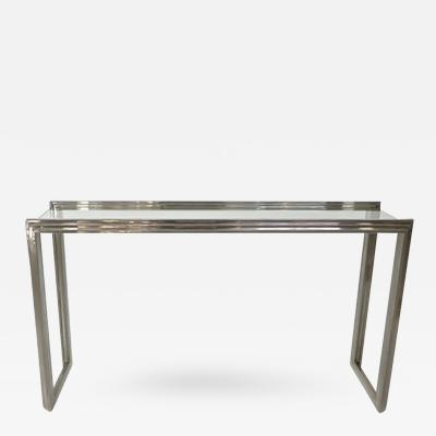 Romeo Rega Elegant Italian Chrome Console by Romeo Rega with Glass Plateau Italy c 1970