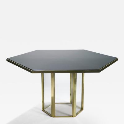 Romeo Rega Hollywood Regency Romeo Rega black lacquer brass glass dining table 1970s