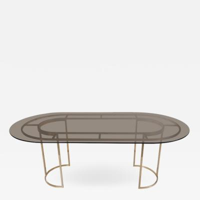 Romeo Rega Huge Brass and Glass Dining Table by Romeo Rega