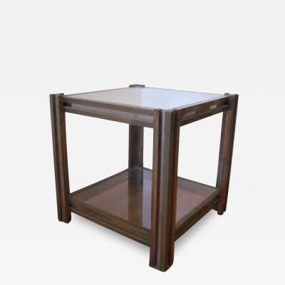 Romeo Rega Italian Mid Century Modern Brass Nickel Side Table Nightstand by Romeo Rega