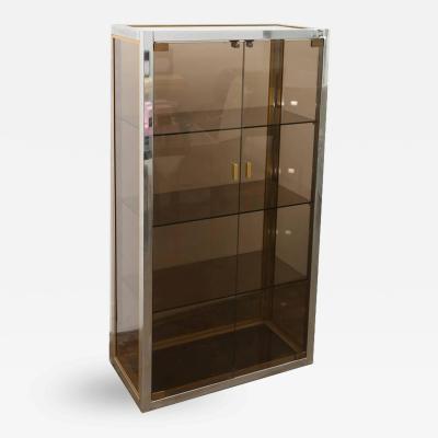 Romeo Rega Italian Mid Century Modern Chrome Brass Smoked Glass Cabinet
