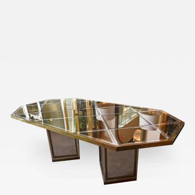 Romeo Rega Italian Mid Century Modern Glam Brass Chrome Mirror Dining Table