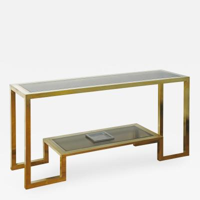 Romeo Rega Large Brass and Steel Console by Romeo Rega Italy 1970