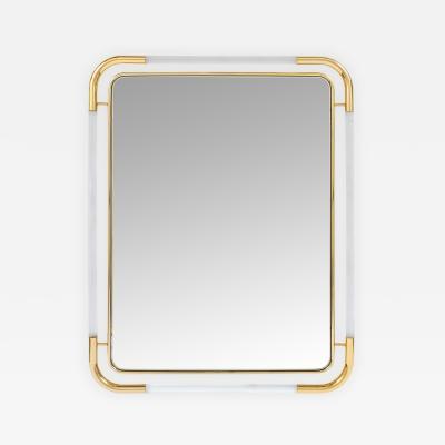 Romeo Rega Large Lucite and Brass Mirror in the Style of Romeo Rega