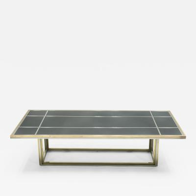Romeo Rega Large Mid century Italian brass chrome coffee table by Romeo Rega 1970s
