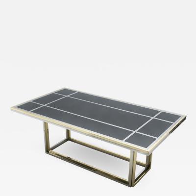 Romeo Rega Large brass chrome black glass dining table Romeo Rega 1970s
