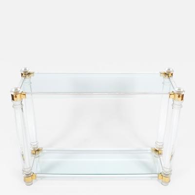 Romeo Rega Lucite and Brass Console Table