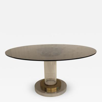 Romeo Rega Lucite and Brass Dining Center Table by Romeo Rega