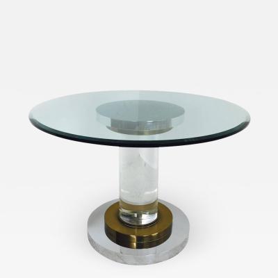 Romeo Rega Lucite and Glass Pedestal Dining Table by Romeo Rega