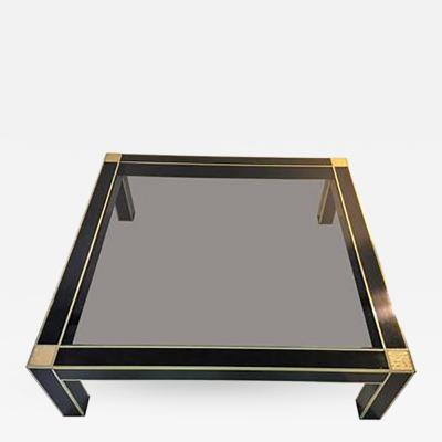 Romeo Rega Modernist Brass and Black Laminate Coffee Table by Romeo Rega