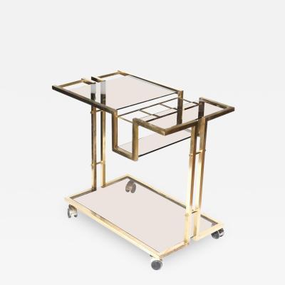 Romeo Rega Modernist Brass and Glass Two Tier Bar Cart
