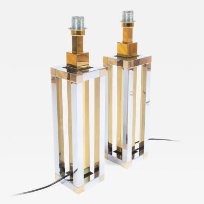 Romeo Rega Pair of Chrome and Brass Table Lamps by Romeo Rega