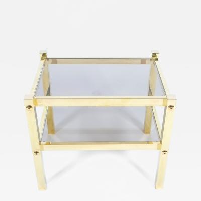 Romeo Rega Pair of Polished Brass Glass End Tables Circa 1960