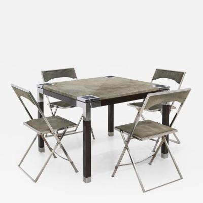 Romeo Rega Rare set play table by Romeo Rega in green alcantara leather signature 60