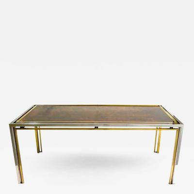 Romeo Rega Romeo Rega 1970s Brass Nickel Desk Dining Table with Gold Leaf Glass Top