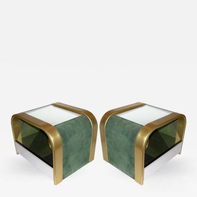 Romeo Rega Romeo Rega 1970s Brass and Chrome Open Side Tables with Green Velvet Sides