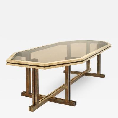 Romeo Rega Romeo Rega Brass and Smoked Glass Dining Table