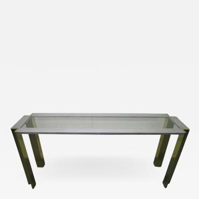 Romeo Rega Romeo Rega Brushed Aluminum and Brass Console Table Mid Century Modern