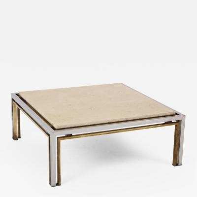 Romeo Rega Romeo Rega Chrome Brass and Travertine Top Square Coffee Table
