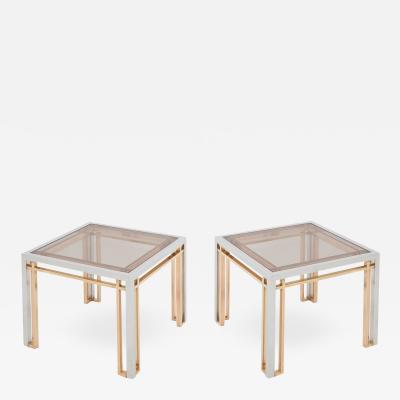 Romeo Rega Romeo Rega Coffee Tables in Chrome Brass and Glass 1970s