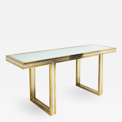 Romeo Rega Romeo Rega Console Table in Brass and Chrome Italy 1970