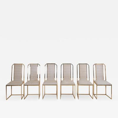 Romeo Rega Set of 6 Dining Chairs in Brass by Romeo Rega